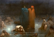 Dante and Virgil in the Ninth Circle of Hell painting reproduction, Gustave Dore