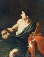 David with the Head of Goliath painting reproduction, Pietro Novelli