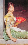Day Dreaming painting reproduction, Eugene De Blaas