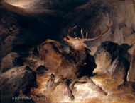 Deer and Deer Hounds in a Mountain Torrent painting reproduction, Sir Edwin Landseer