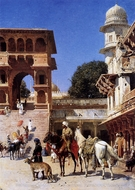 Departure for the Hunt painting reproduction, Edwin Lord Weeks