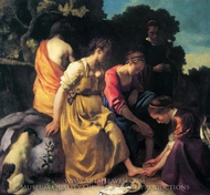 Diana and Her Companions painting reproduction, Jan Vermeer