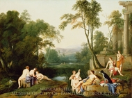 Diana and Her Nymphs in a Landscape painting reproduction, Laurent De La Hyre