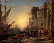 Disembarkkation of Cleopatra at Tarsus painting reproduction, Claude Lorraine