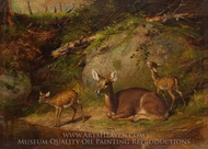 Doe and Two Fawns painting reproduction, Arthur Fitzwilliam Tait