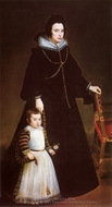 Dona Antonia de Ipenarrieta y Galdos with her Son Luis painting reproduction, Diego Velazquez
