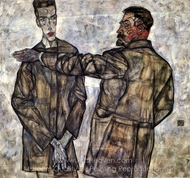 Double Portrait (Chief Inspector Heinrich Benesch and His Son Otto) painting reproduction, Egon Schiele