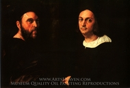 Double Portrait of Andrea Navagero and Agostino Beazzano painting reproduction, Raphael Sanzio