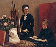 Drawing Lesson in the Workshop painting reproduction, Henri Fantin-Latour