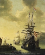 Dutch Men-of-War in Harbour painting reproduction, J. Browne