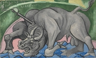 Dying Bull painting reproduction, Pablo Picasso (inspired by)