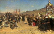 Easter Procession in the Region of Kursk painting reproduction, Ilya Repin