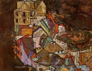 Edge of Town painting reproduction, Egon Schiele