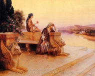 Elegant Arab Ladies on a Terrace at Sunset painting reproduction, Rudolph Ernst