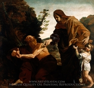Elijah Receiving Bread from the Widow of Zarephath painting reproduction, Giovanni Lanfranco