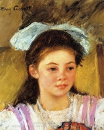 Ellen Mary Cassatt with a Large Bow in Her Hair painting reproduction, Mary Cassatt