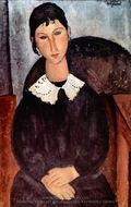 Elvira mit Weissem Kragen painting reproduction, Amedeo Modigliani