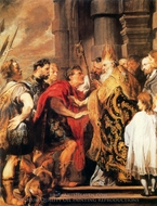 Emperor Theodosius Refused Entry into Milan Cathedral by St. Ambrose painting reproduction, Sir Anthony Van Dyck