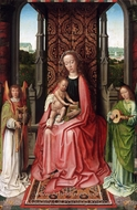 Enthroned Virgin and Child, with Angels painting reproduction, Gerard David