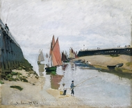 Entr�e du port de Trouville painting reproduction, Claude Monet