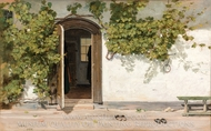 Entrance to an Inn in the Praestegarden at Hillested painting reproduction, Martinus Rorbye