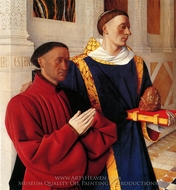 Estienne Chevalier with St. Stephen painting reproduction, Jean Fouquet