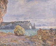 Etretat, the Beach and the Porte d'Aval painting reproduction, Claude Monet