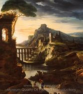 Evening: Landscape with an Aqueduct painting reproduction, Theodore Gericault