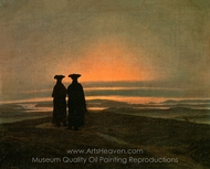 Evening Landscape with Two Men painting reproduction, Caspar David Friedrich