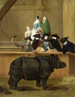 Exhibition of a Rhinoceros at Venice painting reproduction, Pietro Longhi