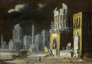 Fantastic Ruins with Saint Augustine and the Child painting reproduction, Francois de Nome