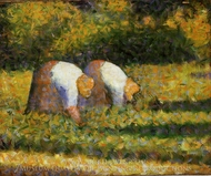 Farm Women at Work painting reproduction, Georges Seurat