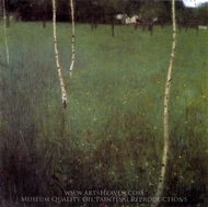 Farmhouse with Birch Trees painting reproduction, Gustav Klimt