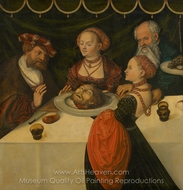 Feast of Herod, Herod's Banquet painting reproduction, Lucas Cranach