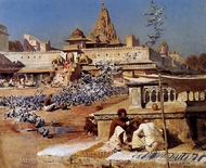 Feeding the Sacred Pigeons, Jaipur painting reproduction, Edwin Lord Weeks