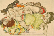 Female Lovers painting reproduction, Egon Schiele