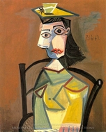 Femme a Chapeau Assise Dans un Fauteuil painting reproduction, Pablo Picasso (inspired by)