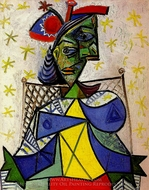Femme Assise au Chapeau Bleu et Rouge painting reproduction, Pablo Picasso (inspired by)