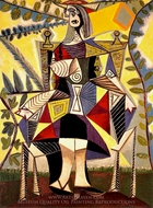 Femme Assise au Jardin painting reproduction, Pablo Picasso (inspired by)