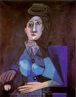 Femme Assise au Petit Chapeau Rond painting reproduction, Pablo Picasso (inspired by)