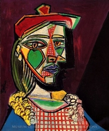 Femme au Beret et a La Robe a Carreaux painting reproduction, Pablo Picasso (inspired by)