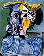Femme au Chapeau Jaune (Jacqueline) painting reproduction, Pablo Picasso (inspired by)