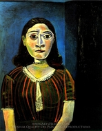 Femme au Corsage de Satin (Portrait de Dora Maar) painting reproduction, Pablo Picasso (inspired by)