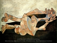 Femme Couchee sur Fond Cachou (Nu couche) painting reproduction, Pablo Picasso (inspired by)
