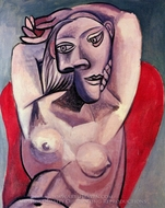 Femme dans un Fauteuil Rouge painting reproduction, Pablo Picasso (inspired by)