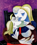 Femme et Enfant (Marie-Therese et Maya) painting reproduction, Pablo Picasso (inspired by)