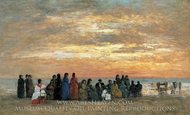 Figures on the Beach at Trouville painting reproduction, Eugene-Louis Boudin