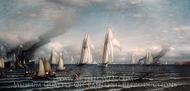 First International Race for America's Cup, August 8, 1870 painting reproduction, Samuel Colman