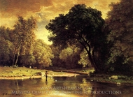 Fisherman in a Stream painting reproduction, George Inness