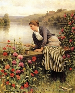 Fishing painting reproduction, Daniel Ridgway Knight